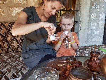 Enjoying Bosnian coffee, Mostar